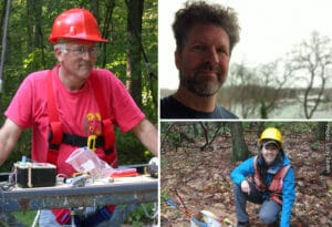 Three photos of forest ecologists in the field